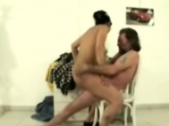 Slutty Whore Rides Handicapped Guys Cock