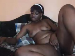 chubby-ebony-lies-on-her-bed-facing-the-webcam-and-showing