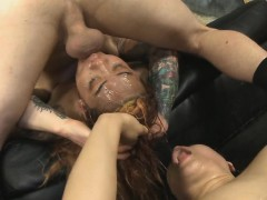 two-dirtbags-getting-tonsil-fucked-together-in-foursome