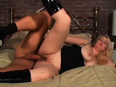 Hairy Blonde Cougar With Big Natural Tits Goes Crazy For A Hard Stick