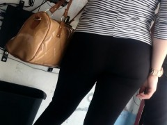 Gal In Black Pants With A Chubby Ass Is Followed By A Spy C