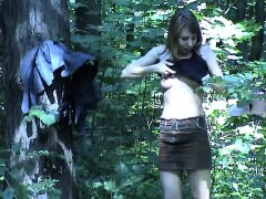 Uninhibited Chick Takes Her Panties Off In The Woods For Yo