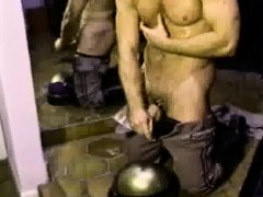Muscled Cop Masturbates In Front Of Mirror