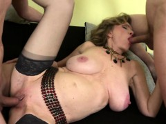 young guys sharing a big titted shaved mature