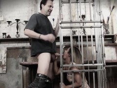 Cock whore Lana Violet caged and throated