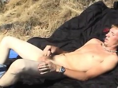 Blonde Twink Dean With Hard Dick Masturbates Outdoor