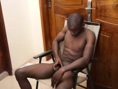 Black African Twink George Beats Off