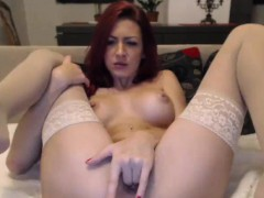 Big Tits Redhead Camgirl In Stocking Fingering Pussy