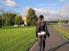 Jeny Smith pantyhose fashion flashing in public