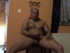 cute-bald-hunk-pulls-his-fat-prick-out-and-masturbates-solo