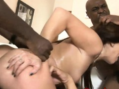Kinky hot babe dped by massive black cocks on the couch