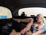 Female Fake Taxi Slim minx gets fucked with strap on