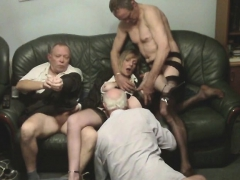 Blonde Teen With A Glasses Having Hardcore Group Sex