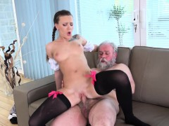 Old Goes Young Slim Teen In Lacy Stockings Jumps