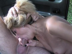 Slim Blonde Rimming Ass In Taxi