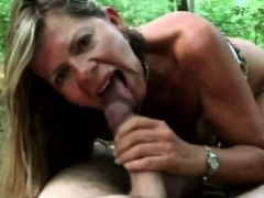 A Lusty Brunette Mature Woman Sucks Horny Man's Dick