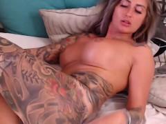 Warm Tattooed Busty Amazing Solo Squirt Orgasm