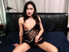 Real Ladyboy Jerks Off Until She Sprays Cum