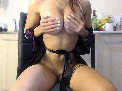 Teasing Dark Haired Teen With Big Boobs Does Striptease