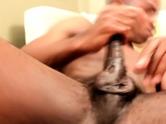 Solo Ebony Hunk Buffing His Shiny Knob