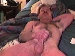 Hairy Old Guy With Mustache Plays With His Boner All Alone