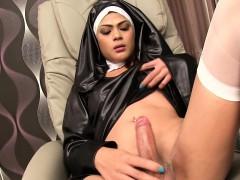 Ladyboy Nun Anita Bareback Action