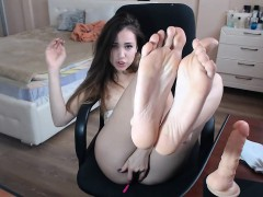 kinky little-boobed camgirl teases and masturbates