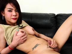 Real Ladyboy Teases And Jerks Her Hard Cock