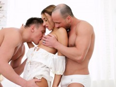 Katrin is ready for her personal all-white home sex party