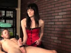 CBT masseuse wanking clients cock