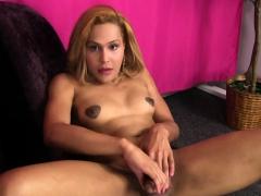 Pierced Blonde Tgirl Jerks Her Cock