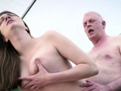 Sweet Teen Pays Grandpa In Nature