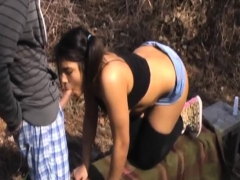 Fucking My Chubby Girlfriend Outdoors