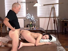 OLD4K. Sex of mature guy and his young wife starts with…