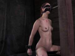 Drooling submissive blindfolded during BDSM