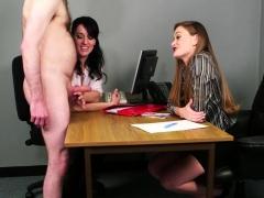 office-babes-stroking-dick-during-cfnm-fetish
