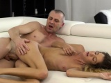 Hot old milf Monique eyed her boypal's father for the