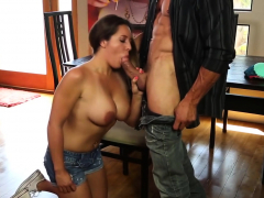 busty chick plays with a fat cock