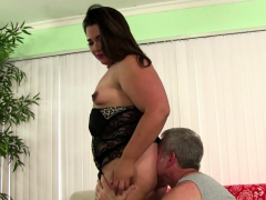 beautiful fatty rides cock after oral action