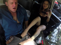 Babe Gives Footjob In Car Porn Video