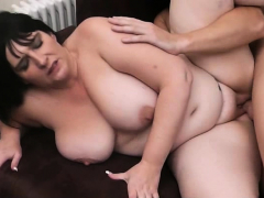 picked up busty brunette gets her vagina licked and banged