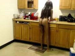 Nudist Black Girl Clean The Kitchen