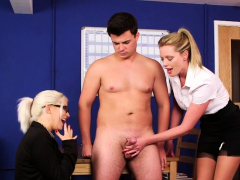 dominant cfnm babes blowing and stroking penis