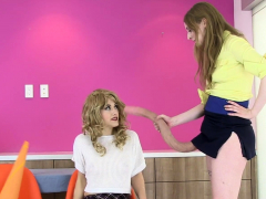 lesbian schoolgirl tugging strapon toy