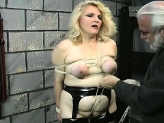 Bare woman thrashing video with bizarre bondage