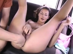 Delightful brunette sweetie enjoys slit stretch