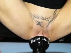 Double Xxl Dildo Fucking Both Her Holes