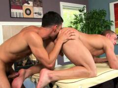 Naughty masseuse plunges inside jocks ass
