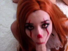 Redhead teen Ginger Elle gives a pov blowjob