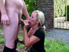 German Step Mom catch Son wank in Garden and Help with Fuck